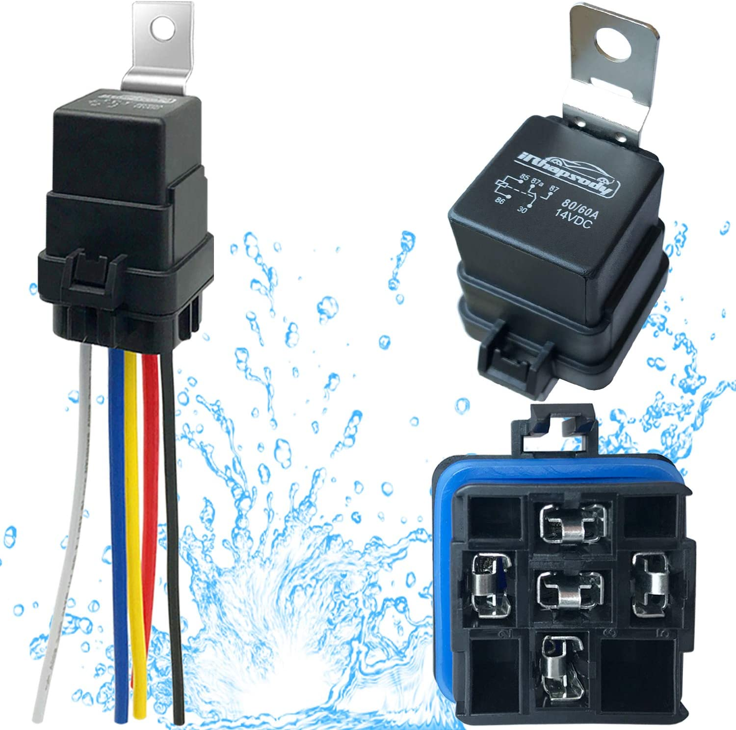IRHAPSODY 1 PACK 80/60 AMP Waterproof Relay and Harness - Heavy Duty 12 AWG Wires, 12 V DC 5-PIN SPDT Bosch Style Automotive Relay