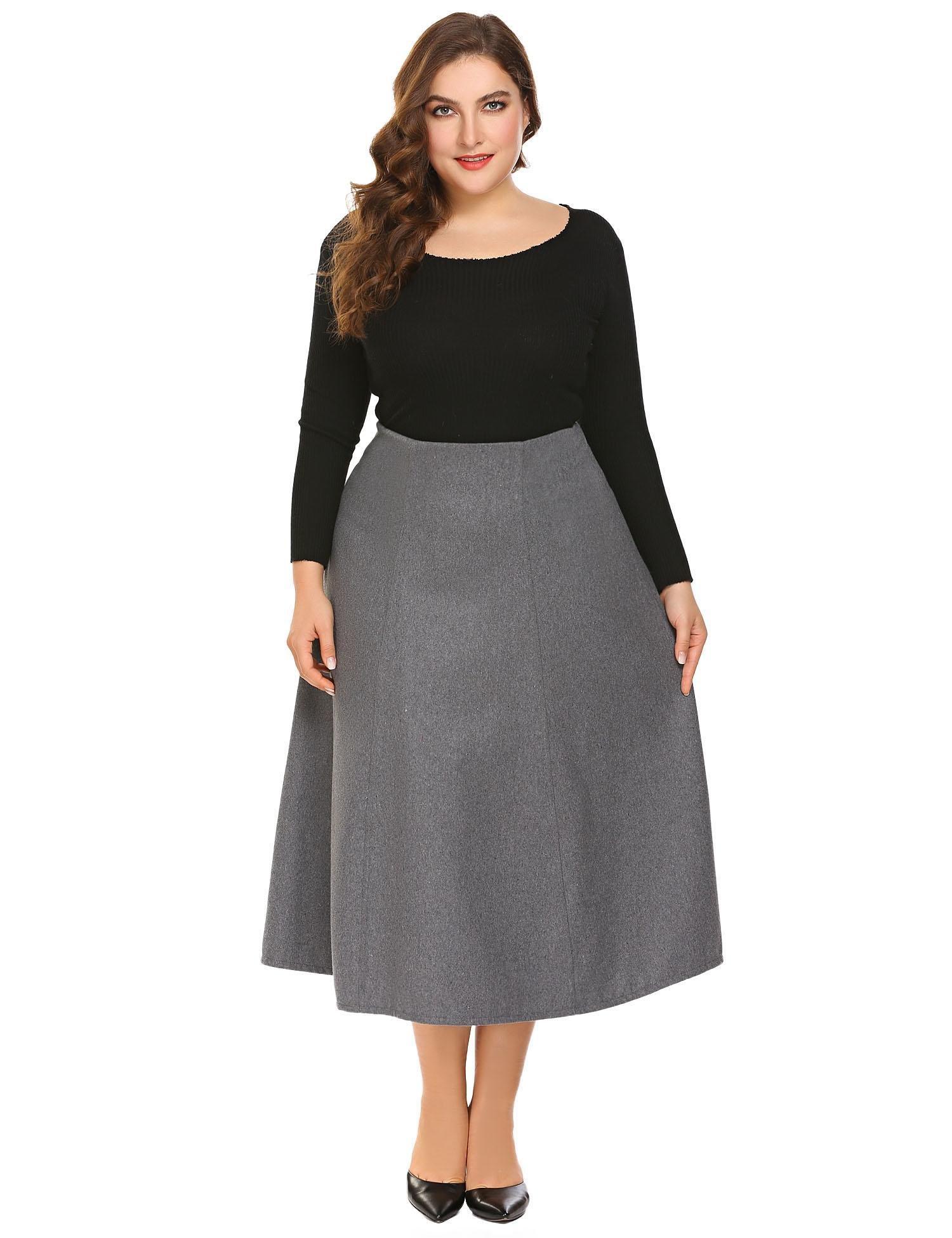 Adidome Women's High Waist Flared A-line Pleated Midi Long Skirt with Pocket(Grey,2XL)