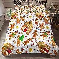 YYHQHE 3D Christmas Bedding Set King Queen Duvet Cover Set Cartoon Santa Claus Print Bed Home Textile Pillowcase New Year Gift Home Decor