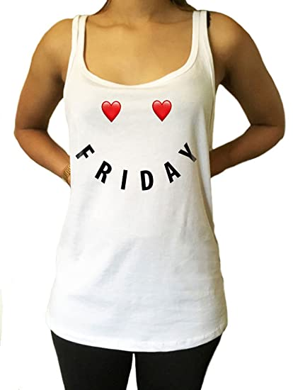 Jersey Tank Top Friday Heart Smiley Face Slogan Weekend Print