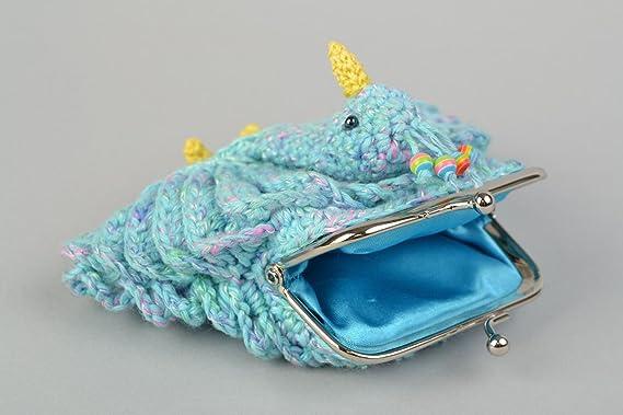 Monedero tejido a ganchillo de color azul Pajaro de fuego para ninos artesanal: Amazon.es: Hogar