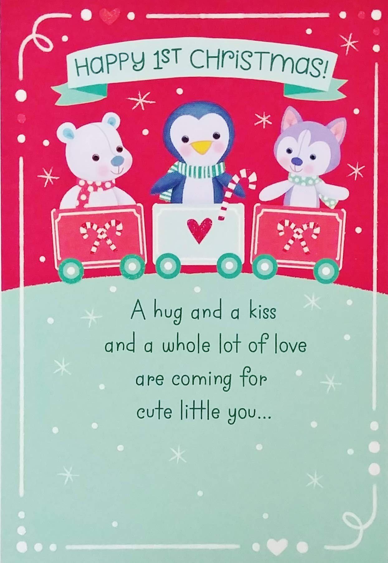 Happy 1st First Christmas Greeting Card Milestone Holiday Infant Young Baby Child - A Hug and A Kiss and a Whole Lot of Love Are Coming For Cute Little You