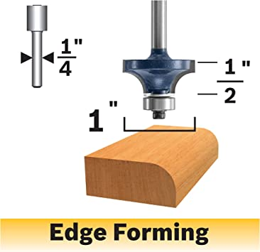 """1//2/"""" x 1//2/"""" Carbide Tipped 2-Flute Round Over Beading Edging Router Bit Cutter"""
