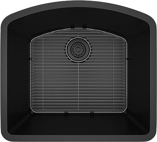 Lexicon Platinum Quartz Composite Kitchen Sink – D-Shaped Single Bowl LP-2321D Black