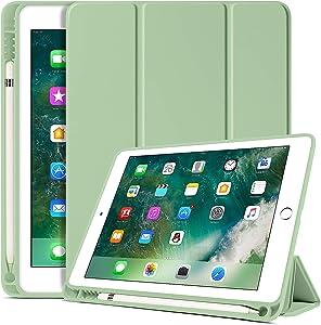 BENTOBEN iPad 6th Generation Case, iPad 5th Generation Case with Pencil Holder, Premium Folio Folding Stand Smart Auto Wake/Sleep Protective Tablet Case Cover for Apple iPad 9.7 Inch 2018/2017, Matcha