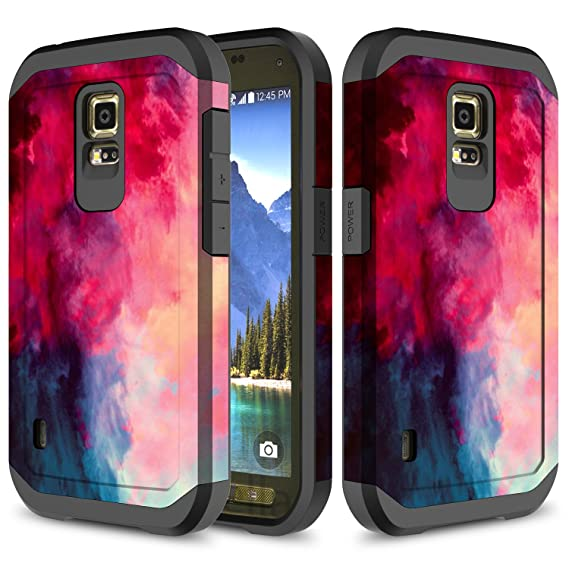 on sale 1835e 55950 Galaxy S5 Active Case, TownShop Paint Clouds Design Hard Impact Dual Layer  Shockproof Bumper Case for Samsung Galaxy S5 Active (G870A)