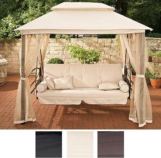 CLP Kenia Banco estilo mecedora, convertible en cama de 3 plazas, con cojines de 8 cm incluidos, crema: Amazon.es: Jardín