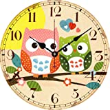 Yesee Silent Wall Clock Non Ticking Noise, Large Wall Clock Battery Operated Decorative for Living Room Bedroom Kitchen.[No Case] (12 Inch, Double Owl)