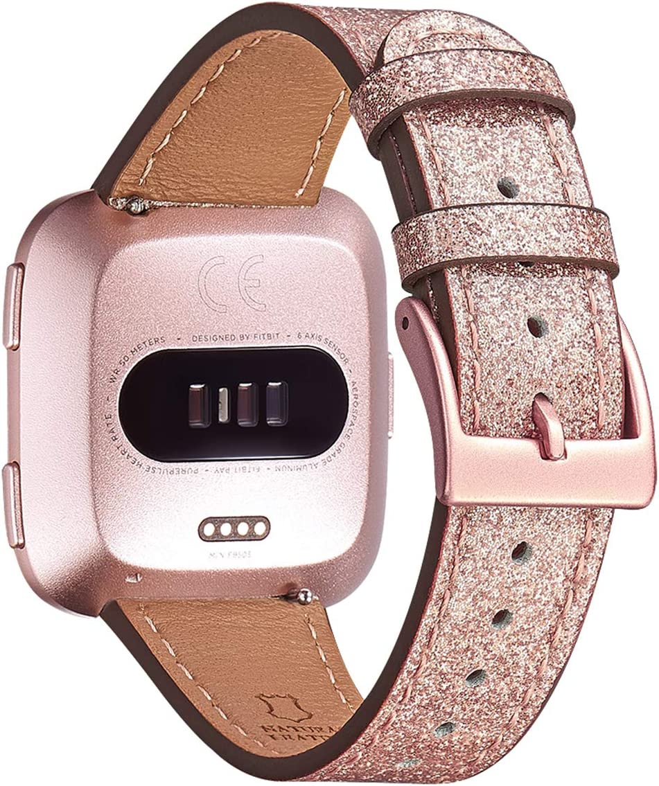 OMIU Bands Compatible with Fitbit Versa/Versa 2/Versa Lite/Versa SE for Women and Men, Classic Soft Leather Strap Replacement Wristband for Fitbit Versa Smart Fitness Watch (Glistening RoseGold/Rose Gold)
