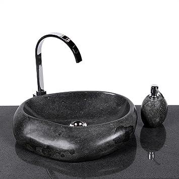 waschbecken stein wohnfreuden naturstein wave 40 cm aus aussen poliert aufsatzwaschbecken findling fa 1 4 r waschtisch versandkostenfrei steinzeug