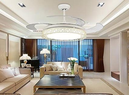 Ventilador de techo invisible, salón restaurante, ventilador, luz LED, moderno, minimalista, frecuencia variable de salón, dormitorio, ventilador,Bainiaochao lámpara colgante: Amazon.es: Iluminación