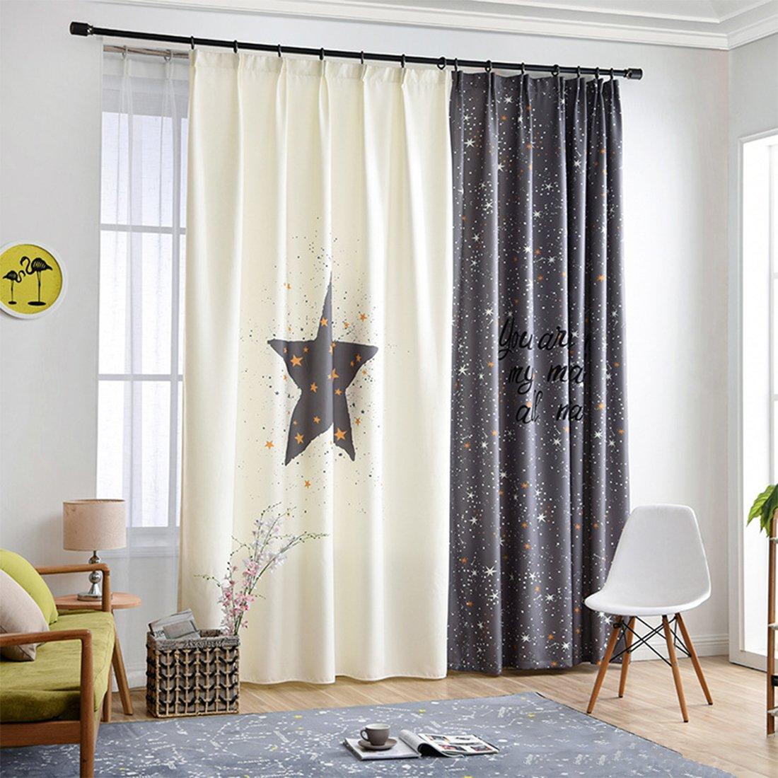 Gwell Rideau Occultant à Oeillets Rideaux Thermique de Fenêtre de Chambre Filles Garçons étoile Gris (1 pièce)