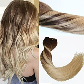 120Gram Virgin Remy Balayage Hair Clip in Extensions Ombre Medium Brown to  Ash Blonde Highlights Real 4e548963d