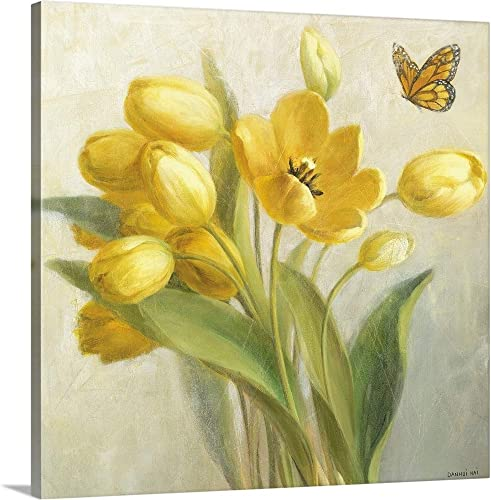 Yellow French Tulips Canvas Wall Art Print