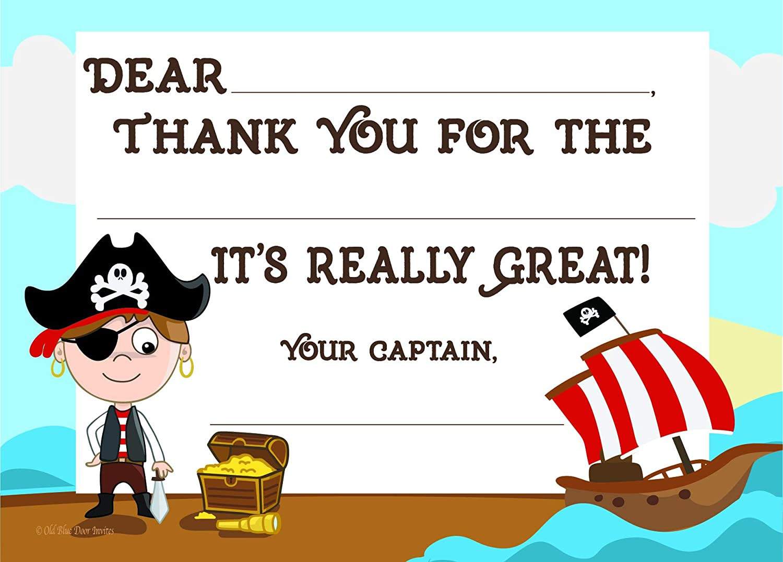 Amazon.com: Kids Pirata Fiesta de cumpleaños Invitaciones ...