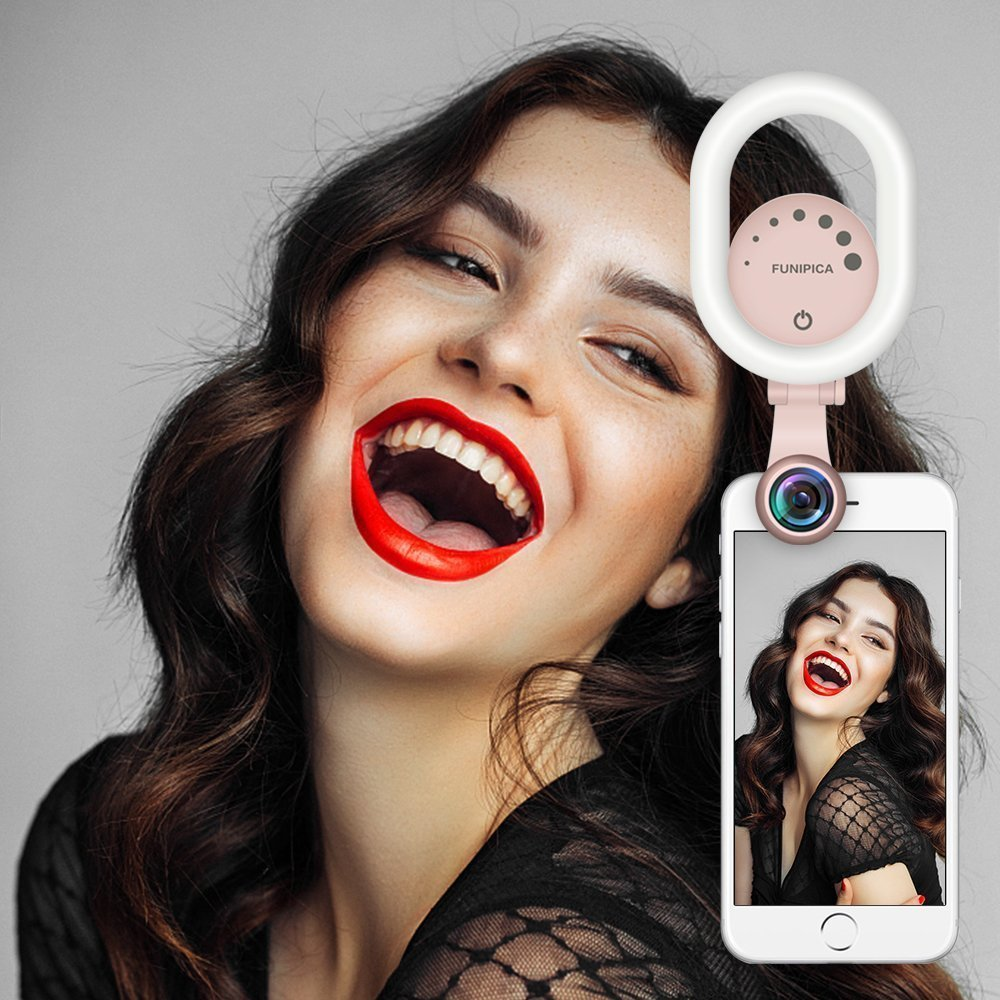 Selfie Ring Light with 120° Wide Angle Lens, Evershop Clip-on Rechargeable LED Selfie Light for iPhone, Samsung, Huawei and all Smartphones/ Tablets (Green)