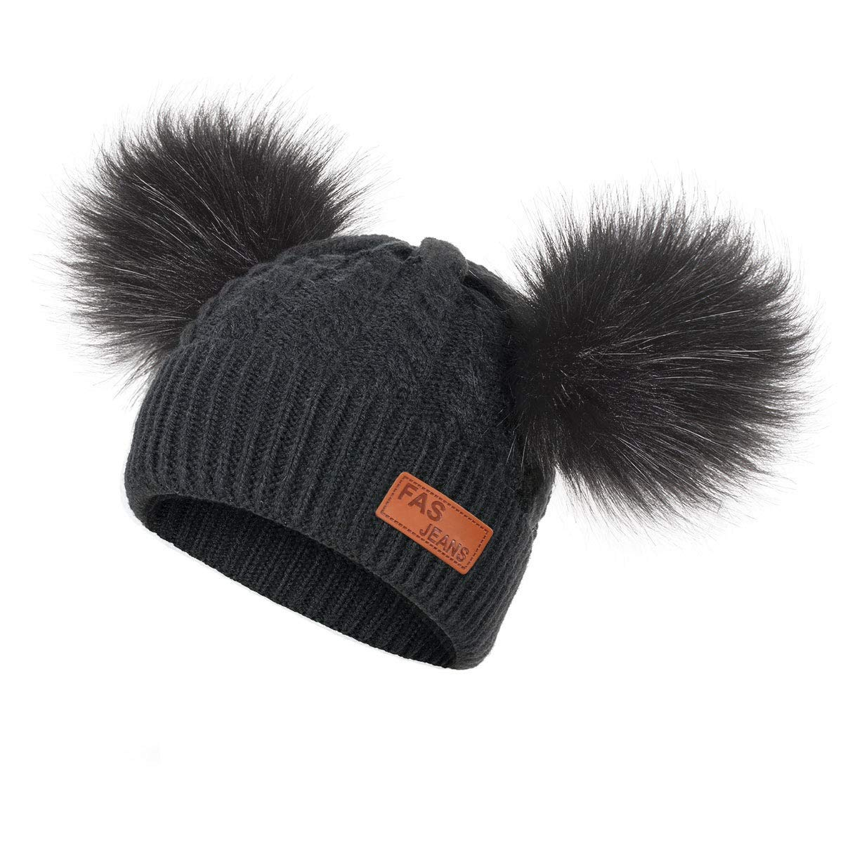 Dark Area Baby Winter Warm Strickm/üTze Kleinkind Kind H/äKeln Hairball Beanie Cap