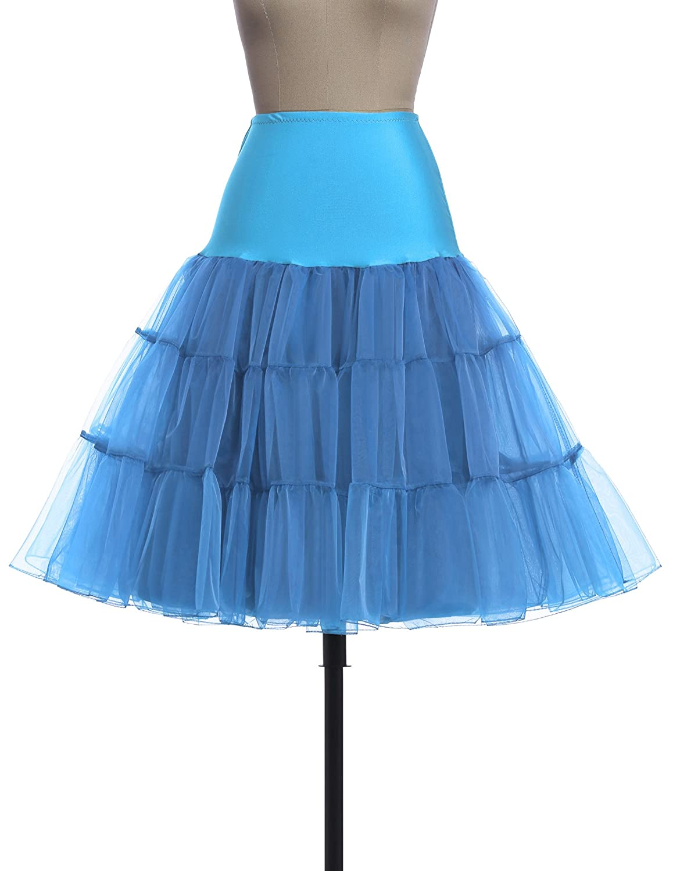 GRACE KARIN 50s Donna Sottogonne al Ginocchio Retro Petticoats Vintage Mini Gonne 14 Colori