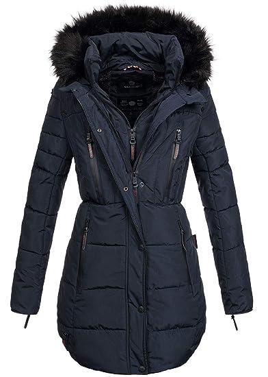 Marikoo warme Damen Winter Jacke Winterjacke Parka Stepp Mantel lang B401