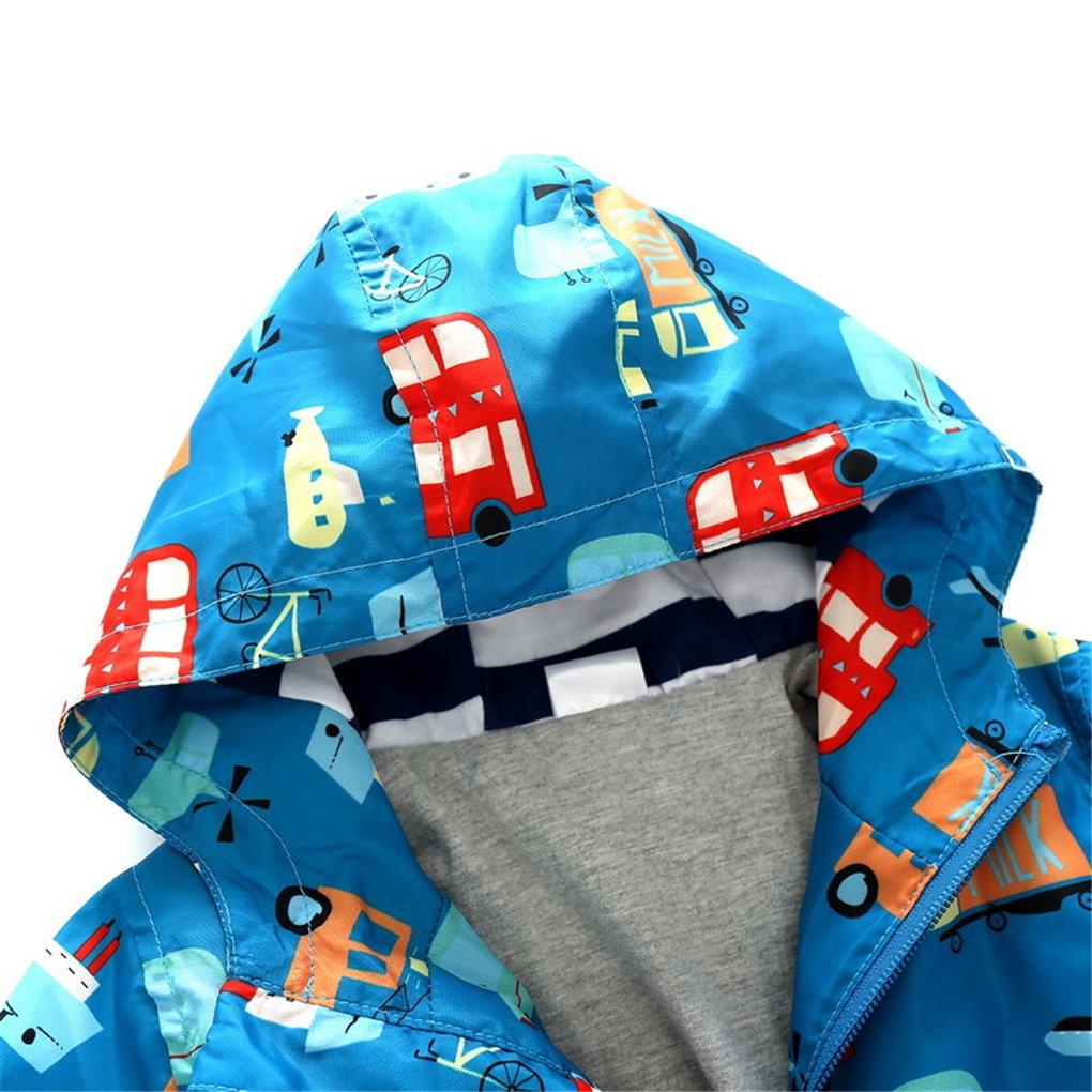 SanReach Kid Boys Transportation Vehicle Print Hooded Jacket Coat Cotton Lined Outerwear