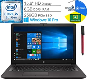 "HP 250 G7 15.6"" Business Laptop Computer, Intel Quad-Core i5-8265U Up to 3.9GHz (Beats i7-7500U), 8GB DDR4 RAM, 256GB PCIe SSD, Webcam, Windows 10 Pro, BROAGE 64GB Flash Drive, Online Class Ready"
