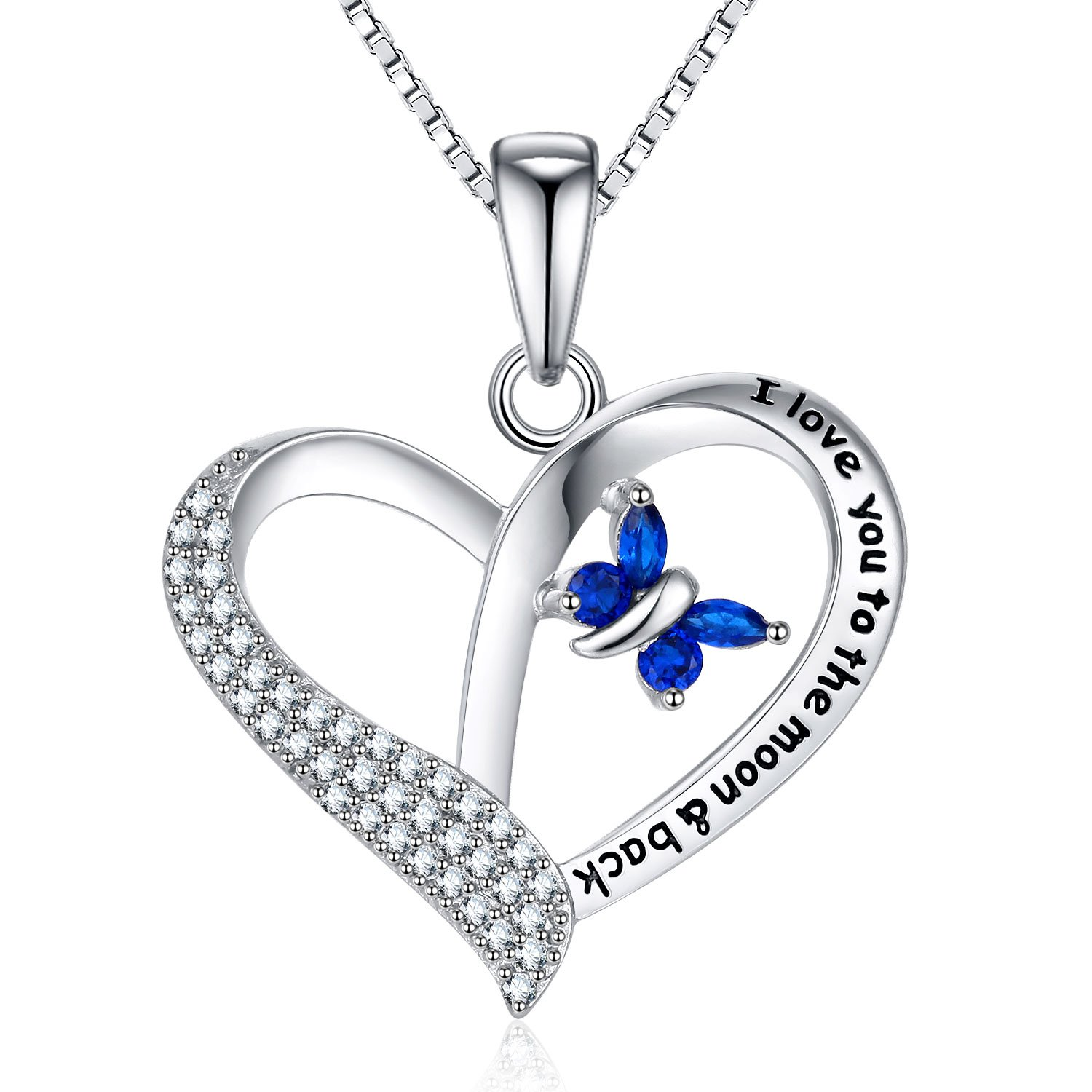 FANCYCD I Love You to the Moon and Back Love Heart Necklace, 18'', Jewelry for Women & Girls, Special Gifts for Girlfriend, Wife, Sister, Aunt, Grandma, Mom.
