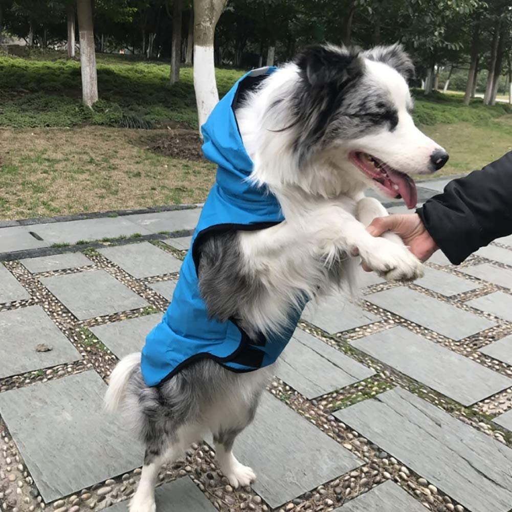 Pet Raincoat,Dog Rain Jacket with Hood Waterproof Fabric Safety Reflective Strip Design Traction Hole Design can be Connected to The Traction Belt,Blue,S