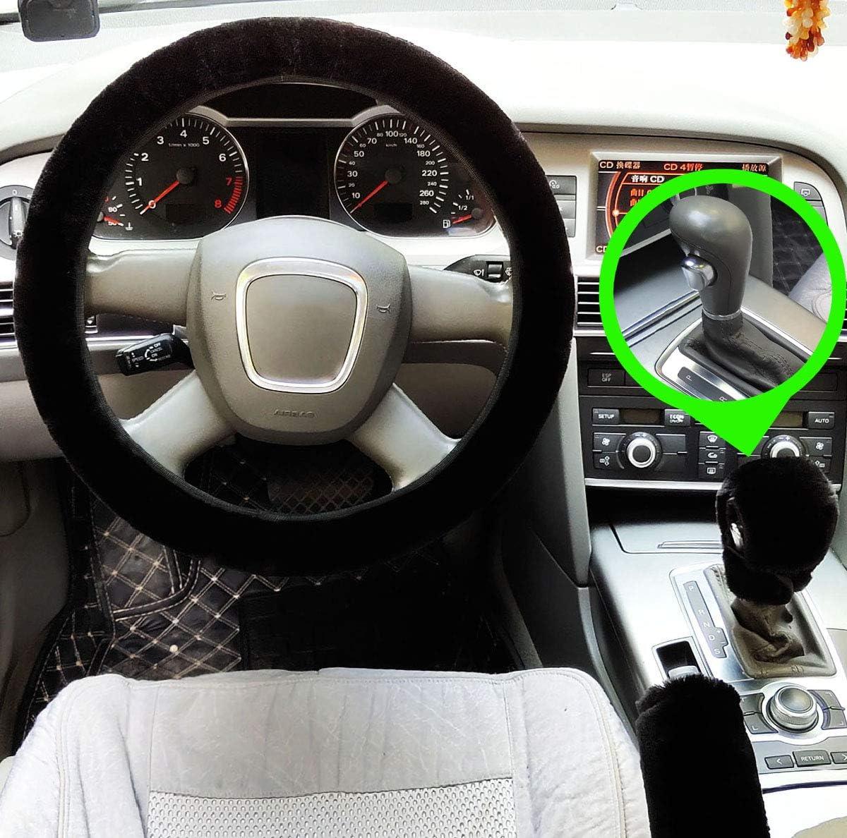 3 Stücke Set Plüsch Auto Lenkradabdeckungen Winter Faux Wolle Handbremse Getriebe Abdeckung Set Autositzbezug Innen Zubehör Black For Automatic Auto