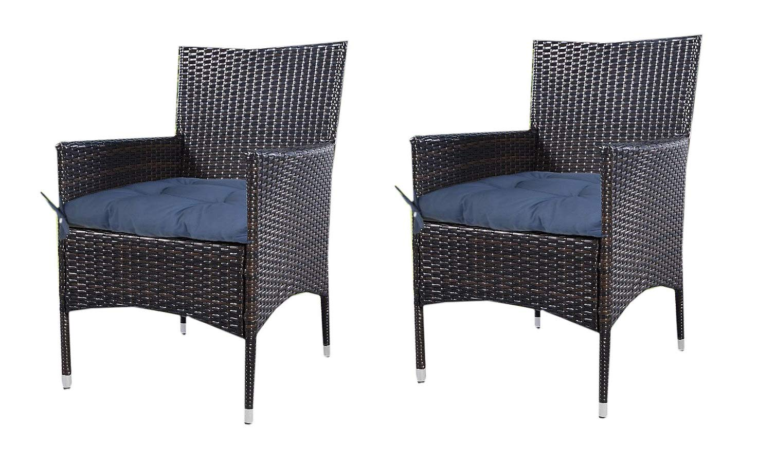 Prettyshop4246 Indoor Ourdoor Wicker Warm Cushion Seat Pad Poolside Home Garden Patio Backyard Balcony Linen Fabric Made in USA Product Soap Maintain East Clean Set of 2 Pcs Navy Blue by Prettyshop4246 (Image #7)