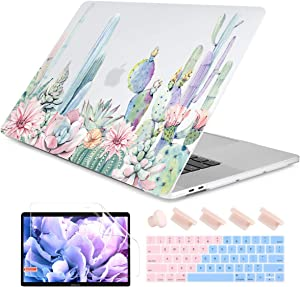 Dongke Case for MacBook Pro 13 Inch Case 2019 2018 2017 2016 Release A2159 A1989 A1706 A1708 with/Out Touch Bar Rubberized Frosted Matte Hard Shell Cover - Watercolor Cactus