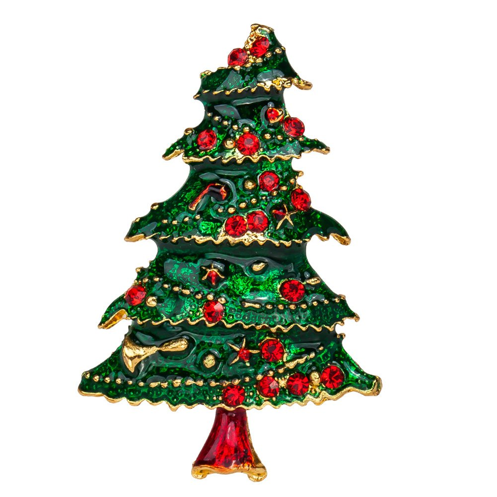 HighPlus Sunny Multi-Colored Crystal Christmas Tree Brooch Pin