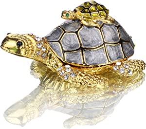 YU FENG Sea Turtle Figurines Collectibles Bejeweled Jewelry Trinket Boxes Hinged Hand Painted Enamel Turtle Box Ring Holder for Women Girls