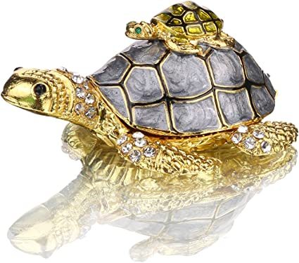 Amazon Com Yu Feng Sea Turtle Figurines Collectibles Bejeweled Jewelry Trinket Boxes Hinged Hand Painted Enamel Turtle Box Ring Holder For Women Girls Home Kitchen