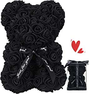 ZFDEBY Rose Flower Bear-Hand Made Teddy Bear,Best Artificial Decoration Gifts for Mothers Day, Valentines Day,Bridal,Weddings,The Perfect Party Clear Gift Box (01-Black)