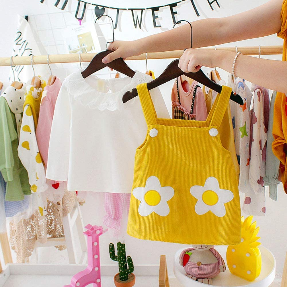 WFZ17 Lovely Baby Clothes,2Pcs//Set Baby Girl Corduroy Long Sleeve Pullover Top Floral Suspender Dress Yellow 0-6M