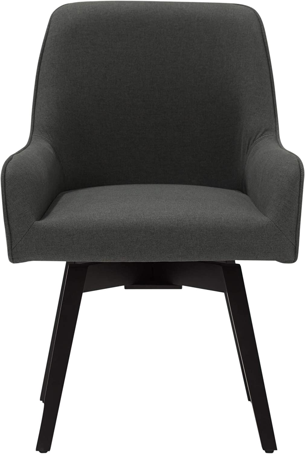 "Studio Designs Home Spire Contemporary Swivel, Rotating, Upholstered, Accent Dining/Office Chair with Arms and Wood Legs in Pewter Gray, 25.5"" W x 24"" D x 35.5"" H"