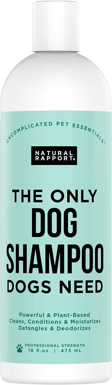 Natural Rapport Champú Natural para Perros y Mascotas – El Único Champú de Perros que tu Perro Necesita - Cham-pú para Perros y Mascotas de Todas las Razas para un Lavado Completo (473 ml)