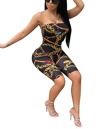 25d7358ae4dc Amazon.com  Halfword Womens Strapless Chain Print Bodycon Capri Jumpsuits  Rompers  Clothing