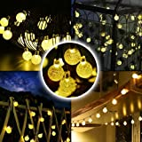 LIVIVO ® Solar Powered Warm White Rechargeable 35 LED Globe Crystal Ball String Light with Air Bubble Effect – Ideal for Decorating Gardens, Patios, Decking, Walls, Fences, Trees and Gazebos – IP44 Waterproof - Up to 8 Hours on Full Charge