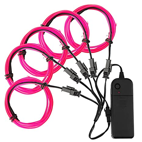 Amazon.com: Zitrade EL Wire Pink Neon Light 4 modes Battery Operated ...