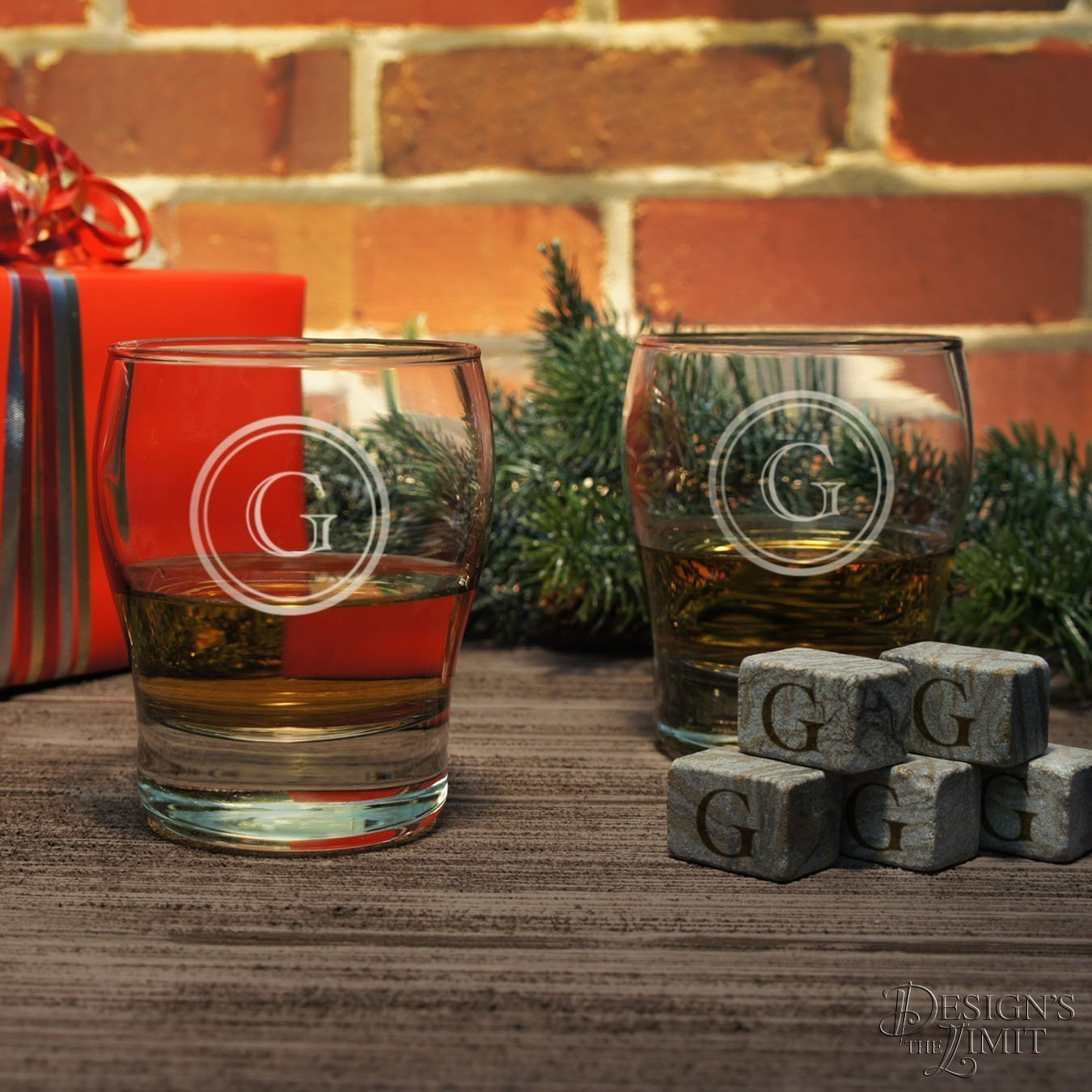 Personalized Scotch Tumblers Set of Two Custom Engraved Glasses