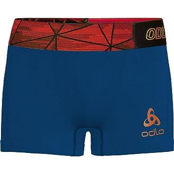 Odlo Boxer Ceramicool Seamless Ropa Interior, Hombre, Blue Opal-Orangeade, Small
