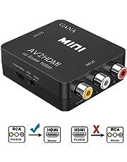 Adaptateur RCA vers HDMI, GANA Mini AV vers HDMI convertisseur vidéo compatible avec 1080P avec câble de charge USB pour PC Portable Xbox PS2 PS3 TV STB VHS Magnétoscope Caméra DVD - Noir