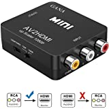 RCA to HDMI, GANA 1080P AV to HDMI Video Converter Mini RCA Composite CVBS Adapter Supporting PAL/NTSC with USB Charge Cable for PC Laptop Xbox PS4 PS3 TV STB VHS VCR Camera DVD