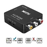 Adaptateur RCA vers HDMI, GANA Adaptateur vidéo Mini AV vers HDMI compatible avec 1080P avec câble de charge USB pour PC Portable Xbox PS4 PS3 TV STB VHS Magnétoscope Caméra DVD - Noir