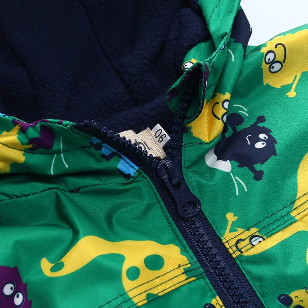 SUNBIBE Toddler Boys Girls Raincoat Waterproof Hoodies Zipper Up Jacket Dinosaur Coat+Pants Suit for 18M-5Y