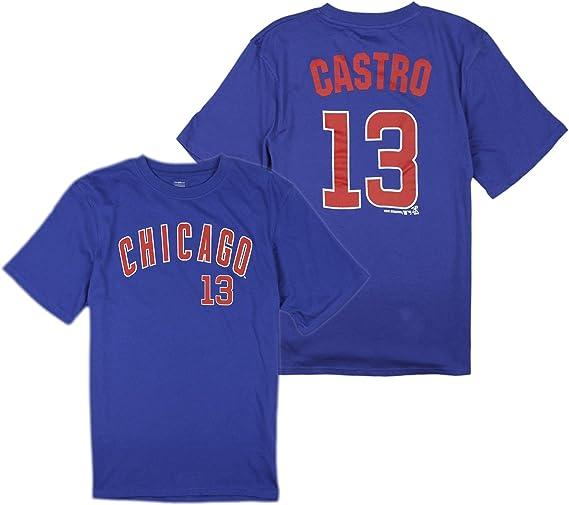 Outerstuff Chicago Cubs MLB Big Boys Starlin Castro # 13 Player Shirt - Blue