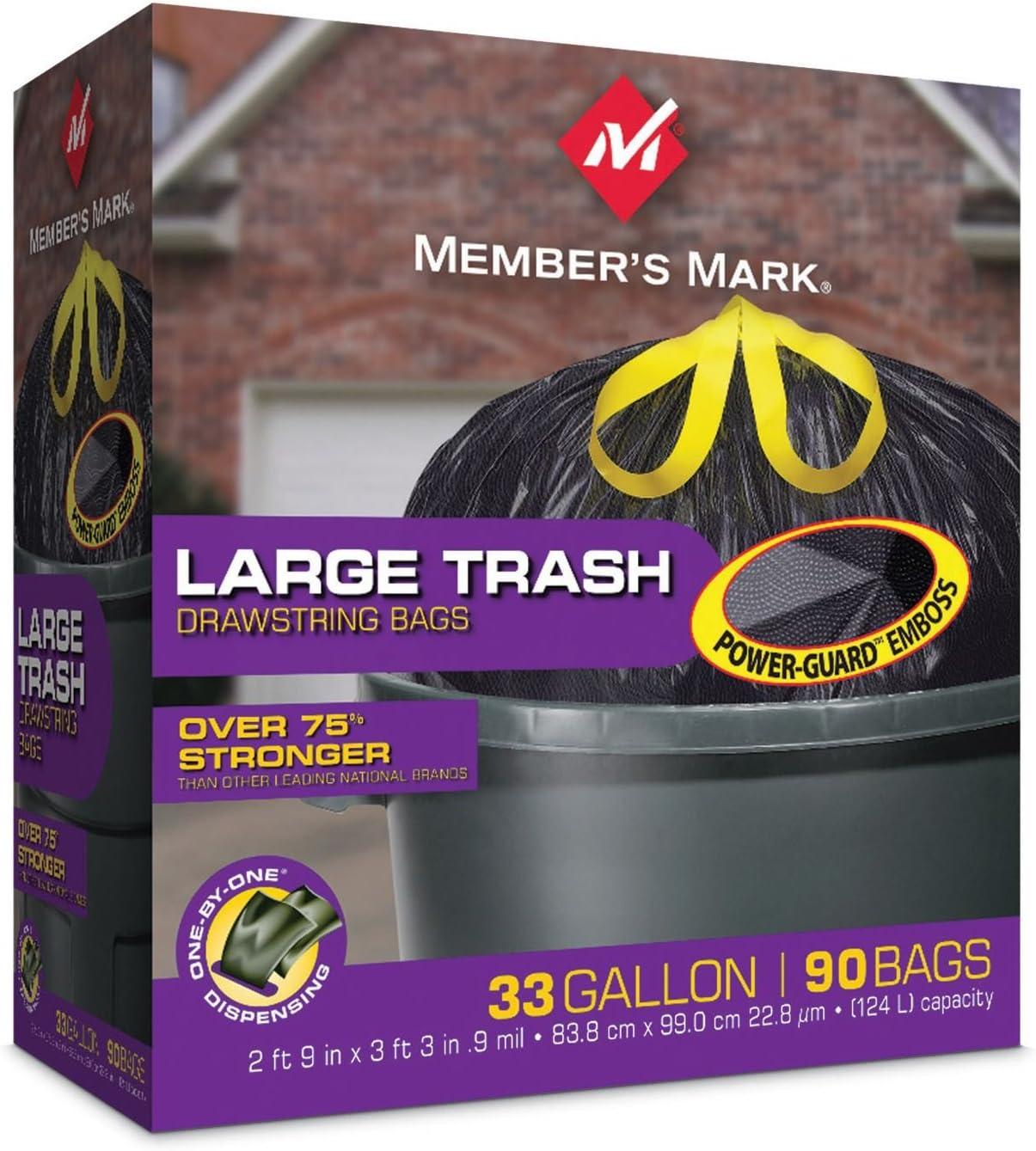 Member/'s Mark 39 Gallon Power-Guard Yard Drawstring Garbage Trash Bags 90 ct.
