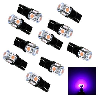 PA 10Pcs T10 921 194 5SMD 5050 LED Light Bulb Auto High Bright PURPLE current fixed: Automotive