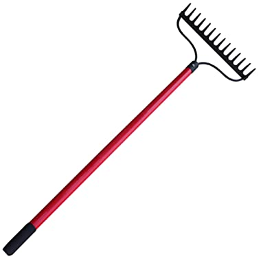 TABOR TOOLS Level Head Rake with Strong Long 54 Inch Fiberglass Handle, 14 Tine. J205A.